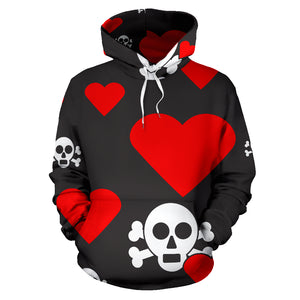 Skulls and Hearts Red Hoodie