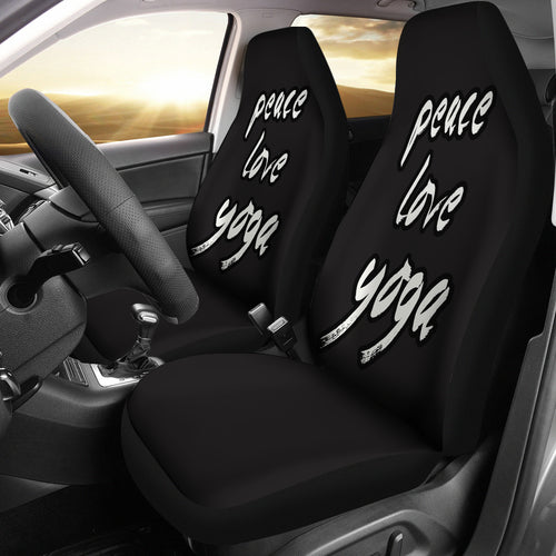 Peace Love Yoga /Black and White/Car Seat Covers Auto Seat Covers/ SUV Seat Covers/ Truck Seat Covers (Set of 2)