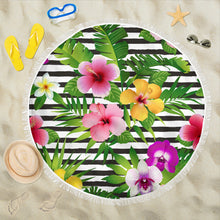 Load image into Gallery viewer, Tropical Flowers/Round/Beach Towel/Table Cloth