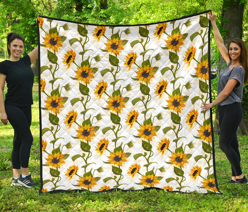 Sunflower/Sunflowers/White/All Over/Quilt