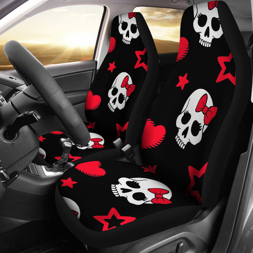 Sugar Skulls/Skulls/Red/Black/Bow/Hearts/Micro Fiber/Car Seat Covers