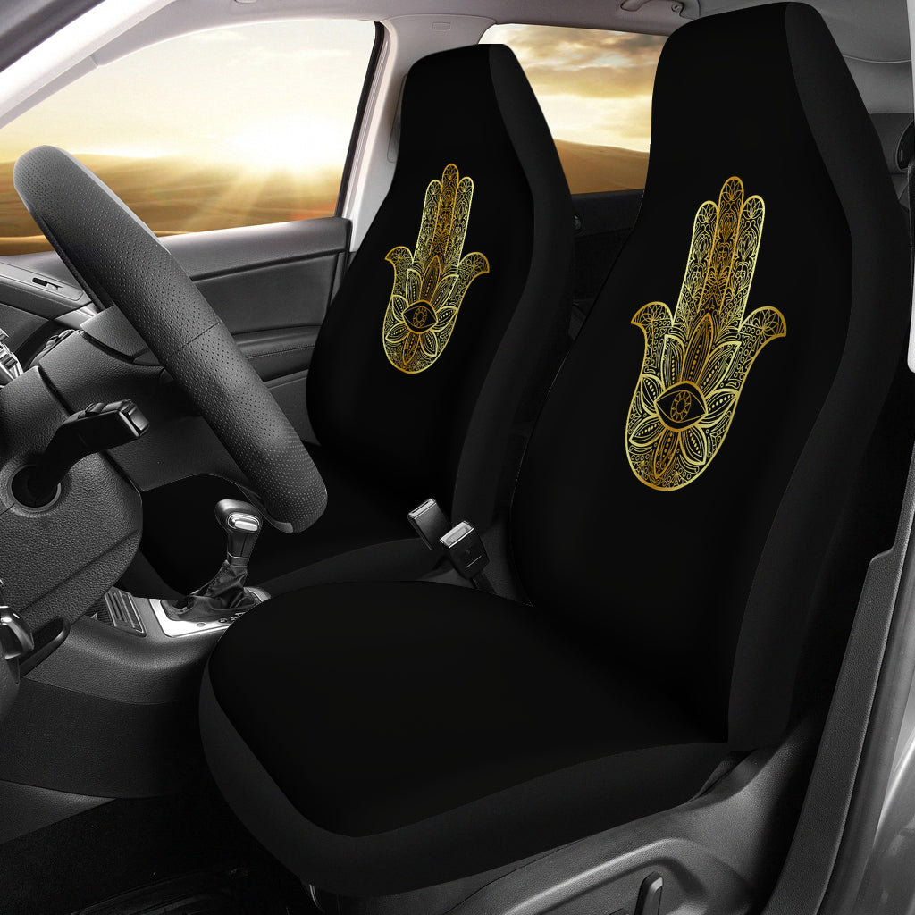 Hamsa/Yoga/Gold Black/Car Seat Covers Auto Seat Covers/ SUV Seat Covers/ Truck Seat Covers (Set of 2)