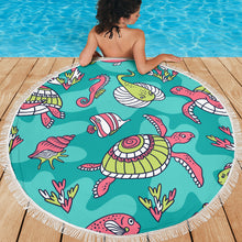 Load image into Gallery viewer, Tropical Sea Animals/Round/Beach Blanket/Table Cloth