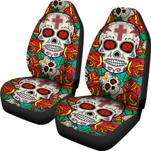 Load image into Gallery viewer, Sugar Skull Red Rose Seat Covers
