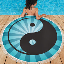 Load image into Gallery viewer, Ying and Yang/Sunburst/Blue/Round/Beach Blanket