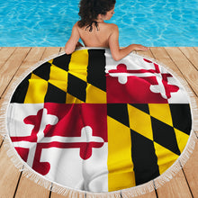 Load image into Gallery viewer, Maryland/State Flag/Terrapins/Round/Beach Blanket/Tablecloth/Blankets/Beach/Pool/Throw/Picnic/Towel/Gift