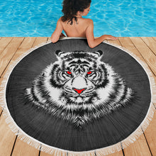 Load image into Gallery viewer, Tiger Face/Red Eyes/Round/Beach Blanket/Table Cloth/Shawl