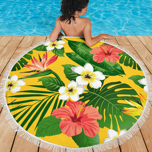 Tropical Flowers/Yellow/Green/Round/Beach Blanket/Table Cloth/Shawl