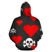 Load image into Gallery viewer, Skulls and Hearts Red Hoodie