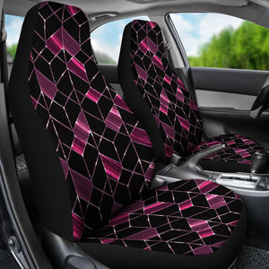 Geometric Pattern/Plum/Car Seat Covers/Auto Seat Covers/SUV Seat Covers/Truck Seat Covers (Set of 2)