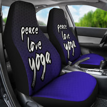 Load image into Gallery viewer, Peace Love Yoga /Honeycomb/Black Blue/Car Seat Covers Auto Seat Covers/ SUV Seat Covers/ Truck Seat Covers (Set of 2)