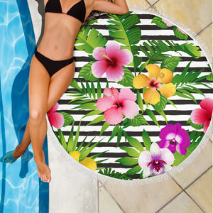 Tropical Flowers/Round/Beach Towel/Table Cloth