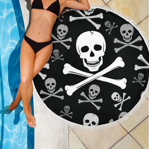 Skull and Crossbones 1/Round/Beach Blanket/Table Cloth/Shawl