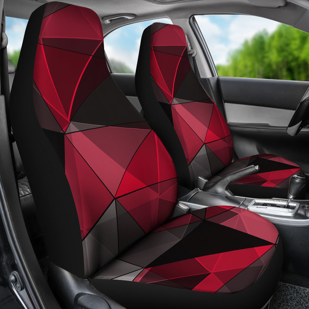 Polygonal Black Red Car Seat Covers Auto Seat Covers Suv Seat Covers