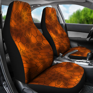 Kryptic Inferno Orange/Camo/Serpent/Car Seat Covers Auto Seat Covers/ SUV Seat Covers/ Truck Seat Covers (Set of 2)