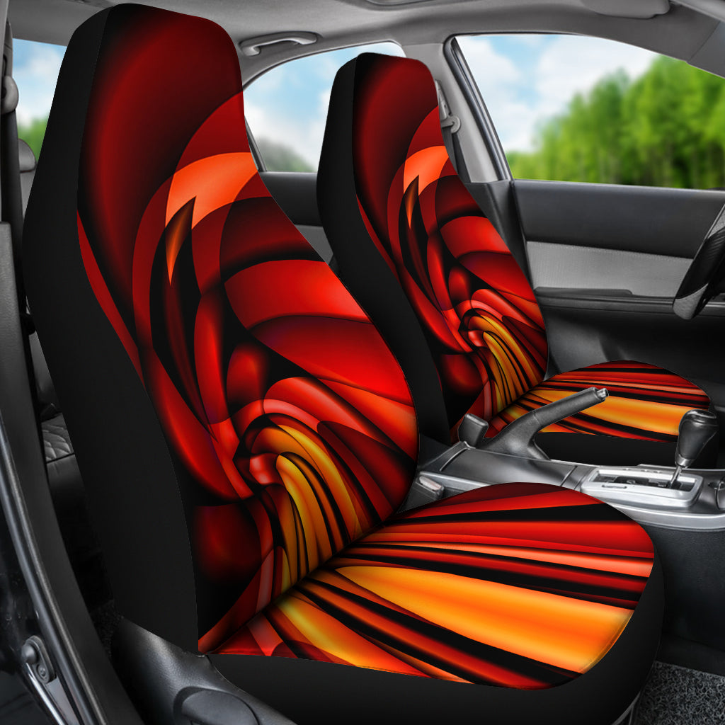 Lava Vortex Red Orange Car Seat Covers Auto SUV