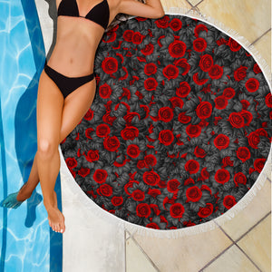 Roses on Black/Round/Beach Blanket/Table Cloth/Shawl