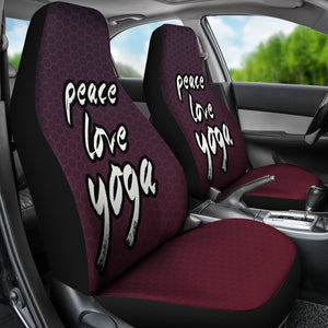 Peace Love Yoga /Honeycomb/Plum Red/Car Seat Covers Auto Seat Covers/ SUV Seat Covers/ Truck Seat Covers (Set of 2)