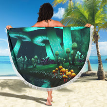 Load image into Gallery viewer, Mushroom Illuminated/Green/Round/Beach Blanket/Table Cloth/Shawl
