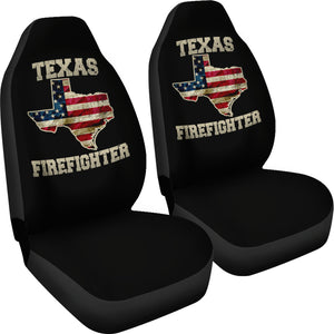 Texas/Firefighter/Seat Covers/American Flag/Car/Truck/SUV/Auto (2 seat covers per set)