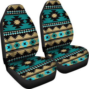 Southwest/Navajo/Native American/Green/Black/Micro Fiber/Auto/Car/Seat Covers (2 seat covers per set)