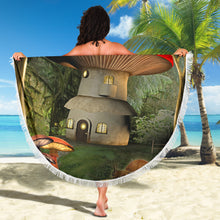 Load image into Gallery viewer, Mushroom House 1/Round/Beach Blanket/Table Cloth/Shawl