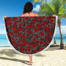 Load image into Gallery viewer, Roses on Black/Round/Beach Blanket/Table Cloth/Shawl