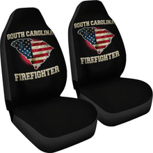 Load image into Gallery viewer, South Carolina/Firefighter/Seat Covers/American Flag/Car/Truck/SUV/Auto (2 seat covers per set)