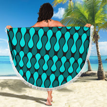 Load image into Gallery viewer, Geo Design/Blue Green/Peanut Shape/Round/Beach Blanket/Table Cloth/Shawl