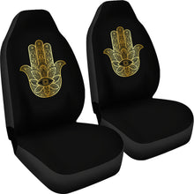Load image into Gallery viewer, Hamsa/Yoga/Gold Black/Car Seat Covers Auto Seat Covers/ SUV Seat Covers/ Truck Seat Covers (Set of 2)