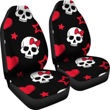 Load image into Gallery viewer, Sugar Skulls/Skulls/Red/Black/Bow/Hearts/Micro Fiber/Car Seat Covers