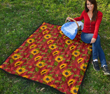 Load image into Gallery viewer, Sunflower/Sunflowers/Red Stripes/All Over/Quilt