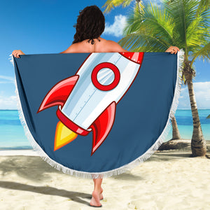 Rocket/Blue/Round/Beach Blanket/Table Cloth/Shawl