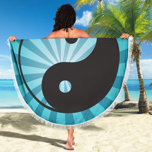 Ying and Yang/Sunburst/Blue/Round/Beach Blanket