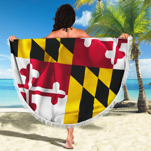 Maryland/State Flag/Terrapins/Round/Beach Blanket/Tablecloth/Blankets/Beach/Pool/Throw/Picnic/Towel/Gift