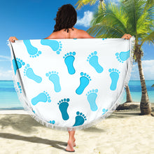 Load image into Gallery viewer, Footprints Blue/Round/Beach Blanket/Table Cloth/Shawl