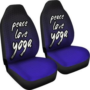 Peace Love Yoga /Honeycomb/Black Blue/Car Seat Covers Auto Seat Covers/ SUV Seat Covers/ Truck Seat Covers (Set of 2)