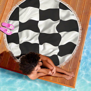 Checkered Flag/Round/Beach Blanket/Table Cloth/Shawl
