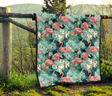 Load image into Gallery viewer, Flamingos/Coral Blue/Quilt/Bedspread