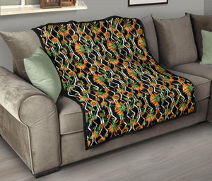 Sunflowers/Black Tribal Pattern/Quilt/Bedspread