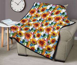 Sunflowers/Sunflower/Watercolor 27/Quilt/Quilts/Bedspread