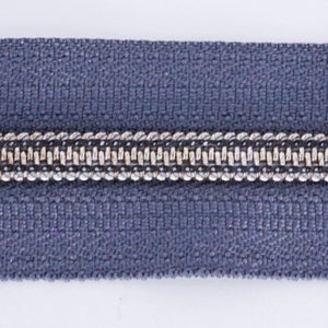#5 Gray Metallic Finish Nylon Zipper Chain (sold per yard) - PfitzSewSwell