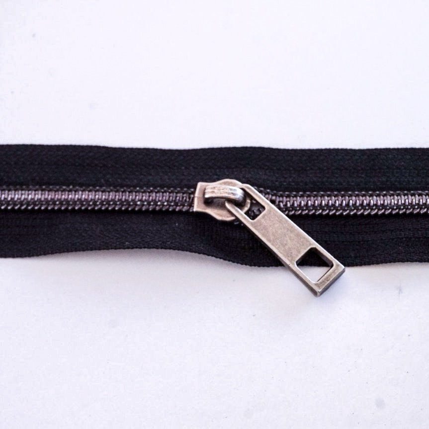 #5 Black Metallic Finish Nylon Zipper Chain (sold per yard) - PfitzSewSwell