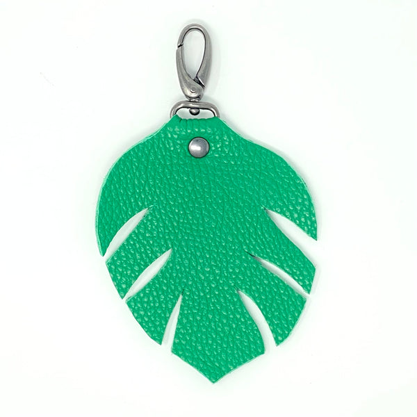 Monstera Leather Bag Charm