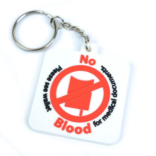 No Blood Rubber Keyring - Pack of 2