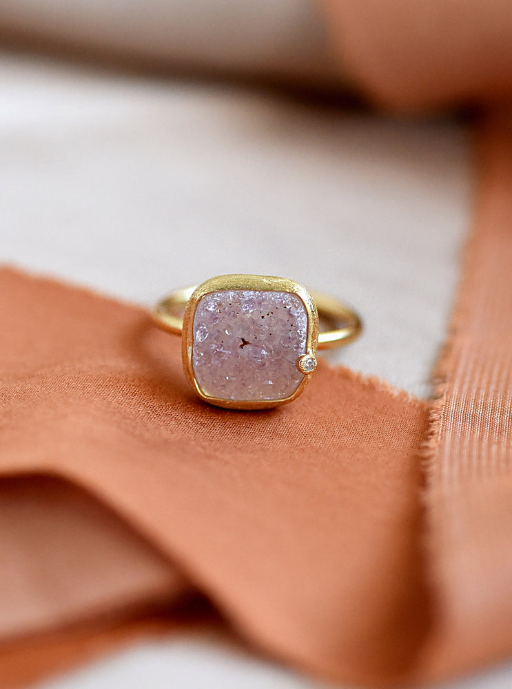Shining Druzy Cushion Genuine Diamond Ring