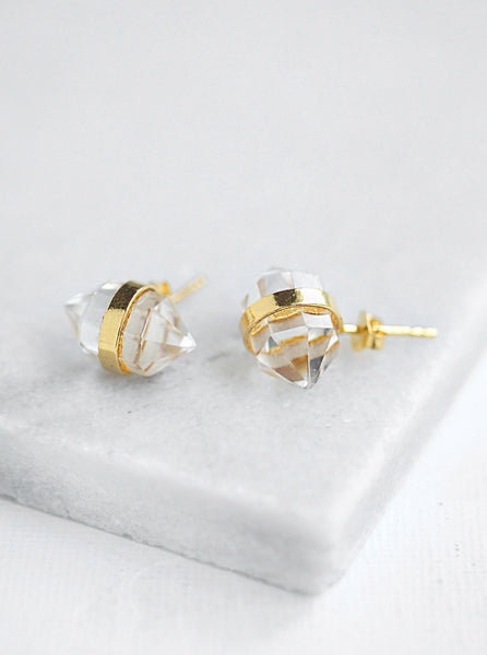 Hexagonal Quartz Stud Earrings