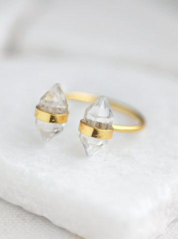 Double Mini Quartz Crystal Ring