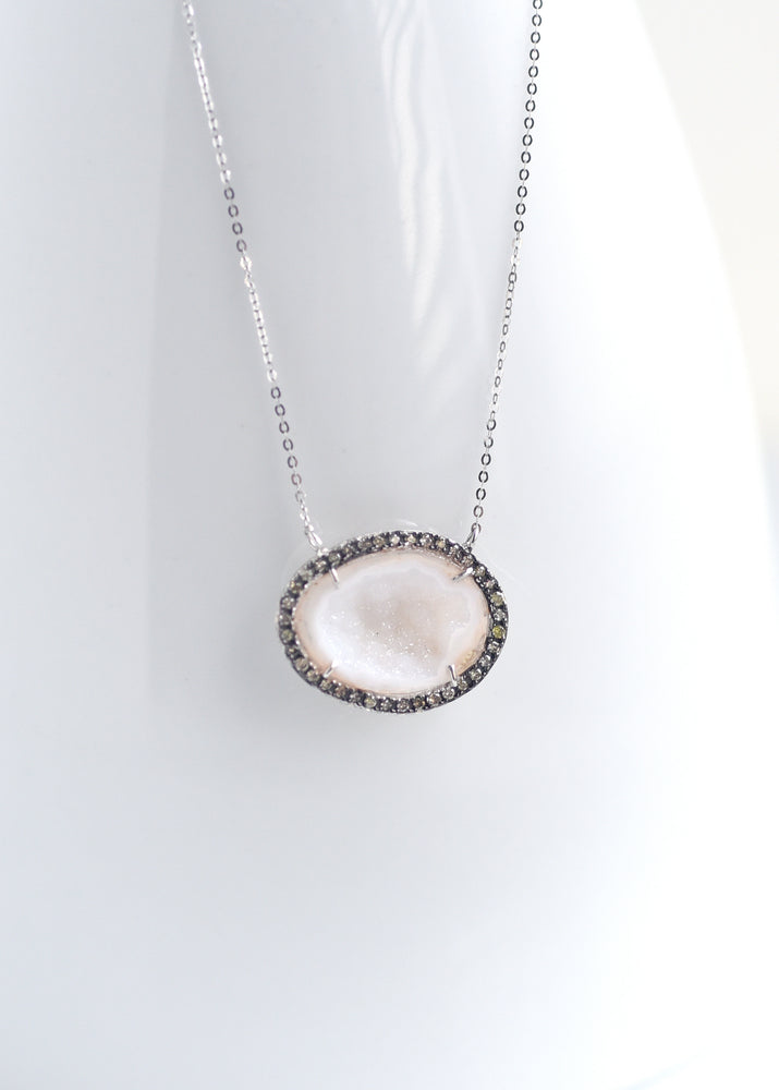 18K  White Gold Geode Necklace with Pave champagne color Diamond