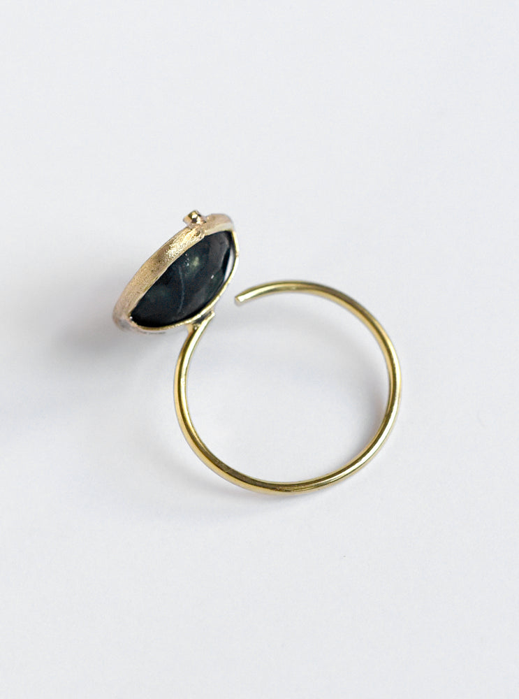 18K Solid Gold Geode Ring with Diamond